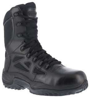 "Reebok Women's 8"" Side-Zip Rapid Response Tactical Boots, Black, hi-res"