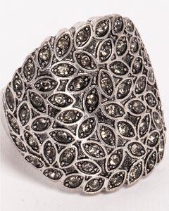 Shyanne Women's Leaflet Rhinestone Ring, Silver, hi-res