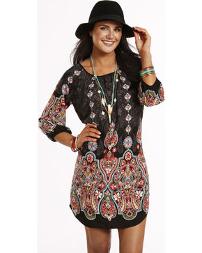 Rock & Roll Cowgirl Women's Black Long Sleeve Dress , Black, hi-res