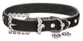 Blazin Roxx Hair On Hide Dog Collar - M-L, Black, hi-res