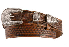 Justin Basketweave Leather Ranger Belt - Reg & Big, , hi-res