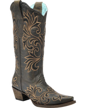Corral Vintage Chocolate and Gold Cowgirl Boots - Snip Toe , Tobacco, hi-res