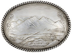 Montana Silversmiths Antiqued Mountain Scene Belt Buckle, , hi-res