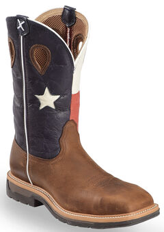 Twisted X Lite Texas Flag Pull-On Work Boots - Steel Toe, , hi-res