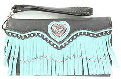 Blazin Roxx Heart Concho Fringe Wallet Clutch, , hi-res