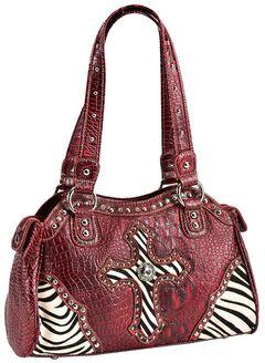 Blazin Roxx Zebra Studded Cross Satchel Bag, , hi-res