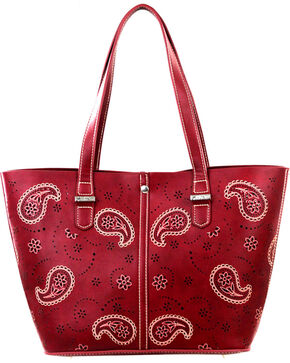 Montana West Burgundy Paisley Collection Handbag, Burgundy, hi-res