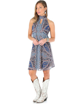 Wrangler Women's Mock Collar Paisley Print Sleeveless Dress, Navy, hi-res