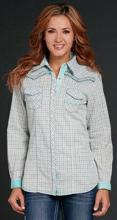 Cowgirl Up Women's Aqua Plaid Embroidered Snap Shirt, , hi-res