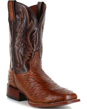Dan Post Men's Ostrich Cognac Exotic Boots - Square Toe , Cognac, hi-res