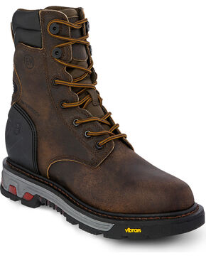 Justin Men's 8 Inch Lace Up Commander Work Boots - Round Toe, Brown, hi-res