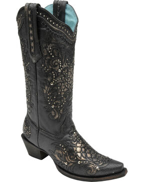 Corral Women's Studded Lace Cowgirl Boots - Snip Toe, Black, hi-res