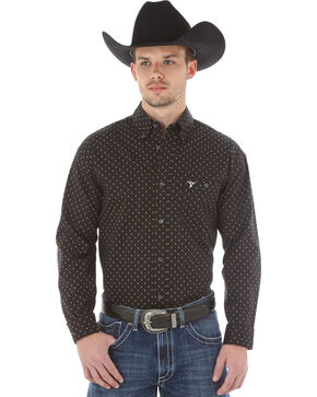 Wrangler 20X Men's Black & Gold Dot Button Shirt, Black, hi-res
