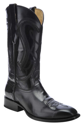 Corral Shiny Cowboy Boots - Square Toe, Black, hi-res
