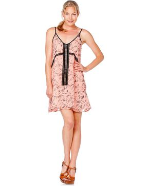 Miss Me Beaded Printed Pink Dress, Salmon, hi-res