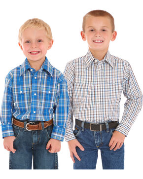 Wrangler Boys' Assorted Wrinkle Resistant Shirt , Multi, hi-res