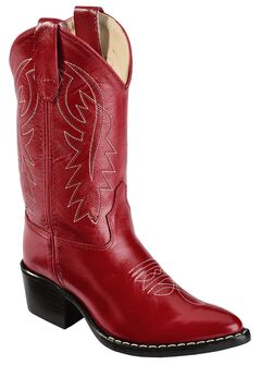 Old West Girls' Red Leather Cowgirl Boots, , hi-res