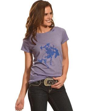 Bohemian Cowgirl Women's Short Sleeve Distressed Cowboy Tee, Blue, hi-res