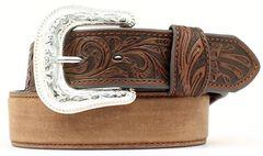 Tooled Tab Leather Belt, , hi-res