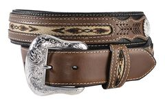 Nocona Ribbon Inlay Leather Belt - Reg & Big, , hi-res