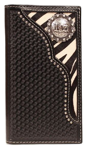 Nocona Zebra Print Hair-on Hide Inlay w/ Cowboy Prayer Concho Rodeo Wallet, Black, hi-res