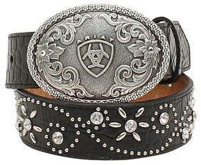 Ariat Girls Swirl Studded Croc Print Belt, Black, hi-res
