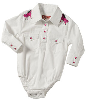 Girls' Long Sleeve Onesie White with Horse Rhinestone Yoke, White, hi-res