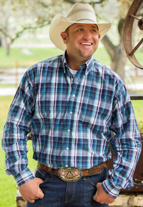Cinch Men's Blue Long Sleeve One Pocket Plaid Shirt - Big and Tall, Blue, hi-res