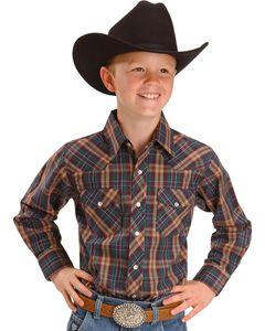Wrangler Boys' Assorted Plaid Western Shirt - 2-20, , hi-res