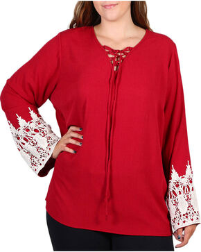 Forgotten Grace Women's Crochet Trim Long Sleeve Top - Plus, Burgundy, hi-res