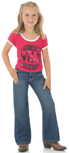 Wrangler Girls' Indigo Contour Waist Jeans - Boot Cut, Indigo, hi-res