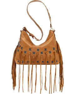 American West Golden Tan River Ranch Slouch Zip Top Shoulder Bag, , hi-res