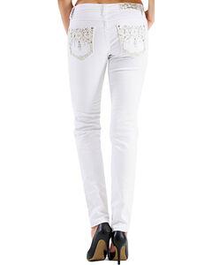 Grace in LA Women's Embroidered Diamond Skinny Jeans, , hi-res