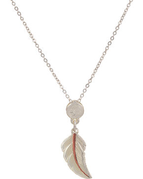 "Montana Silversmiths ""No Dream Is Too Small"" Copper Feather Necklace, Silver, hi-res"