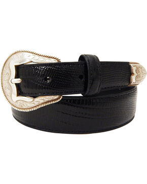 Dan Post Men's Tapered Lizard Print Leather Belt, Black, hi-res