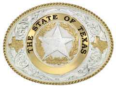 Montana Silversmiths State of Texas Star Seal Western Belt Buckle, , hi-res