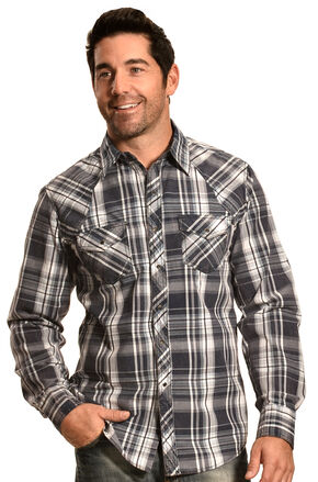 Ely 1878 Men's Navy Plaid Holster Yoke Western Shirt , Navy, hi-res