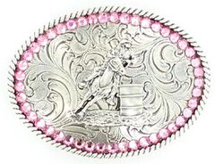 Girls' Barrel Racer Pink Rhinestones Belt Buckle, , hi-res