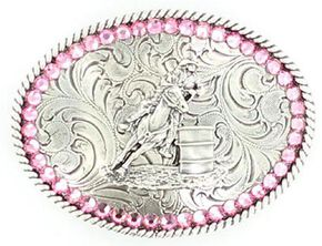 Girls' Barrel Racer Pink Rhinestones Belt Buckle, Silver, hi-res