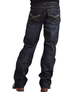 """Stetson Modern Fit Deco Double """"X"""" Stitched Jeans - Big & Tall, Dark Stone, hi-res"""