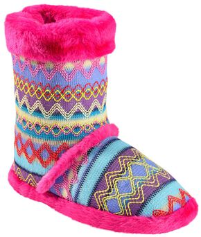 Blazin Roxx Women's Colorful Woven Slipper Booties, Pink, hi-res