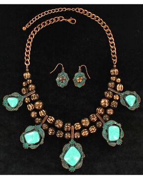 Blazin Roxx Women's Double Beaded Stone Jewelry Set , Rust Copper, hi-res