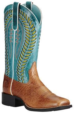 Ariat Women's Brown Quickdraw Venttek Boots - Wide Square Toe, , hi-res