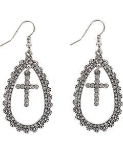 Shyanne Women's Cross Teardrop Earrings , Silver, hi-res