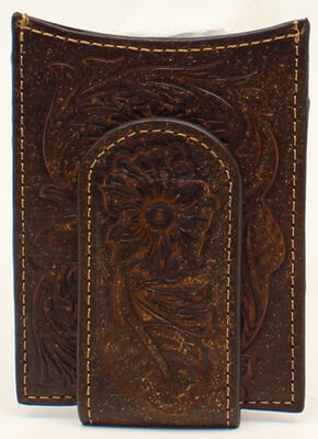 Ariat Floral Embossed Money Clip, Brown, hi-res