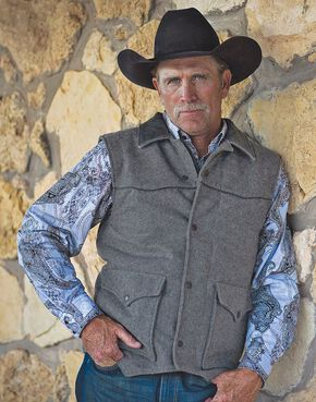 STS Ranchwear Men's Lariat Charcoal Grey Vest - Big & Tall - 2XL-3XL, Charcoal Grey, hi-res