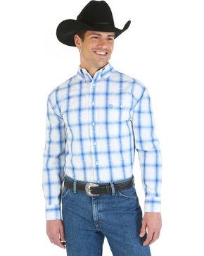 Wrangler George Strait Collection Blue and White Plaid Single Pocket Shirt, White, hi-res