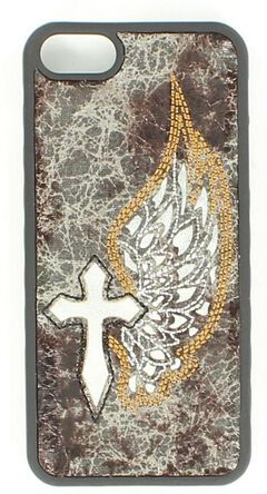 Blazin Roxx Distressed & Embroidered Winged Cross iPhone 5 Case, , hi-res