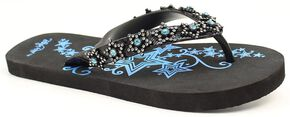 Blazin Roxx Kyler Aqua Star Crystal Flip Flops, Blue, hi-res