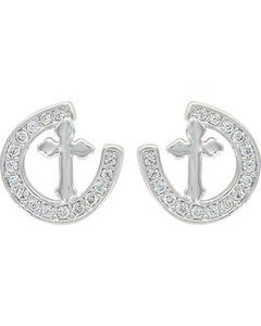 Montana Silversmiths Women's Walking The Path Of Faith Horseshoe Earrings , Silver, hi-res